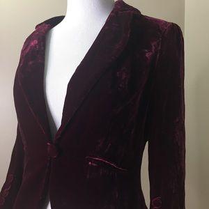 Loft Burgundy Crushed Velvet Blazer Jacket Size 4